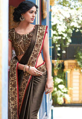 Shades of Brown  Colour  Wrinkle Crape  Material Designer Embroidery Sarees : Martina Collection -  YF-17286