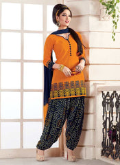Mango Yellow & Blue Color Cotton Readymade Semi Patiala Suits ( Sizes - 38, 42, 46 ) : Kinashi Collection  YF-40620