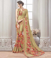 Light Olive Green Color Wrinkle Chiffon Kitty Party Sarees : Chakor Collection  YF-52180