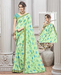 Pastel Green Color Wrinkle Chiffon Kitty Party Sarees : Chakor Collection  YF-52181