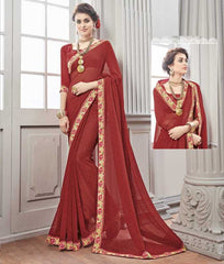 Maroon Color Wrinkle Chiffon Kitty Party Sarees : Chakor Collection  YF-52182