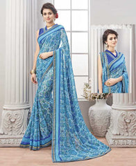 Blue Color Wrinkle Chiffon Kitty Party Sarees : Chakor Collection  YF-52184