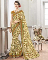 Light Yellow & Brown Color Wrinkle Chiffon Kitty Party Sarees : Chakor Collection  YF-52185