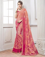 Peach & Pink Color Wrinkle Chiffon Kitty Party Sarees : Chakor Collection  YF-52186
