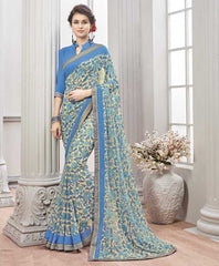 Cream & Blue Color Wrinkle Chiffon Kitty Party Sarees : Chakor Collection  YF-52190