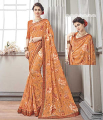 Light Orange Color Wrinkle Chiffon Kitty Party Sarees : Chakor Collection  YF-52191