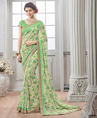 Light Coffee & Green Color Wrinkle Chiffon Kitty Party Sarees : Chakor Collection  YF-52192