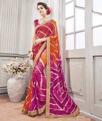 Pink & Orange Color Wrinkle Chiffon Kitty Party Sarees : Chakor Collection  YF-52197