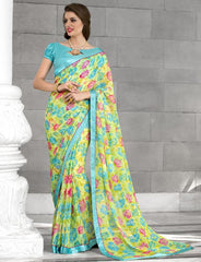 Yellow & Aqua Blue Color Georgette Casual Party Sarees : Kiyara Collection  YF-49916