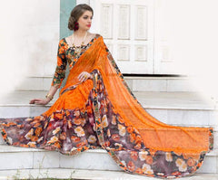 Orange Color Georgette Casual Party Sarees : Kiyara Collection  YF-49917