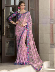 Pink Color Georgette Casual Party Sarees : Kiyara Collection  YF-49918