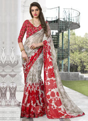 Ash Grey & Red Color Georgette Casual Party Sarees : Kiyara Collection  YF-49919