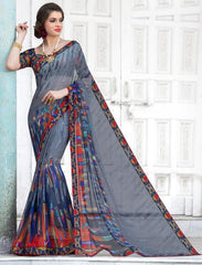Grey & Blue Color Georgette Casual Party Sarees : Kiyara Collection  YF-49920