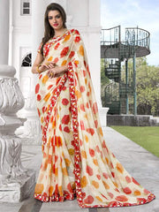 Cream & Red Color Georgette Casual Party Sarees : Kiyara Collection  YF-49921