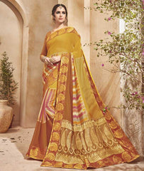 Yellow Color Half Georgette & Half Banarasi Silk Festive Wear Sarees : Preshak Collection  YF-52011