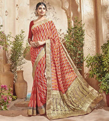 Pink & Orange Color Half Georgette & Half Banarasi Silk Festive Wear Sarees : Preshak Collection  YF-52012