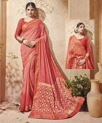 Pink Color Half Georgette & Half Banarasi Silk Festive Wear Sarees : Preshak Collection  YF-52013