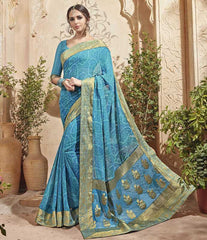 Firozi Color Half Georgette & Half Banarasi Silk Festive Wear Sarees : Preshak Collection  YF-52014