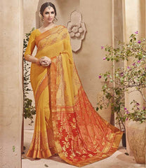 Yellow Color Half Georgette & Half Banarasi Silk Festive Wear Sarees : Preshak Collection  YF-52015