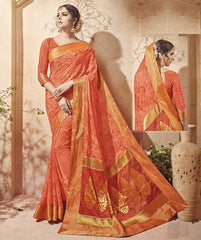 Peach Color Half Georgette & Half Banarasi Silk Festive Wear Sarees : Preshak Collection  YF-52016