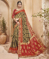Light & Dark Brown Color Half Georgette & Half Banarasi Silk Festive Wear Sarees : Preshak Collection  YF-52020
