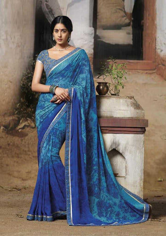 Shades of Blue  Color Chiffon  Printed Casual Sarees : Katy CollectionYF-18497