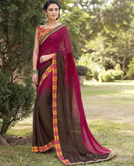 Brown & Magenta Color Jacquard Crepe Festive & Party Wear Sarees : Priansh Collection  YF-49544