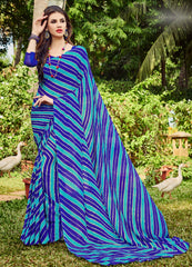 Blue Color Chiffon Casual Party Sarees : Shruki Collection YF-67056