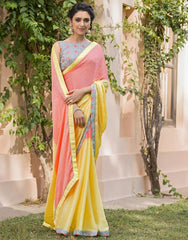 Yellow & Pink Color Jacquard Crepe Festive & Party Wear Sarees : Priansh Collection  YF-49545