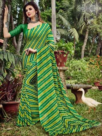 Green Color Chiffon Casual Party Sarees : Shruki Collection YF-67058