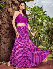 Purple Color Chiffon Casual Party Sarees : Shruki Collection YF-67059