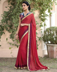 Red Color Jacquard Crepe Festive & Party Wear Sarees : Priansh Collection  YF-49546