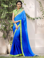 Light & Dark Blue Color Jacquard Crepe Festive & Party Wear Sarees : Priansh Collection  YF-49547