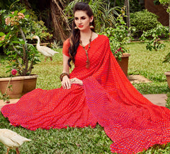 Red Color Chiffon Casual Party Sarees : Shruki Collection YF-67066