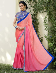 Pink & Peach Color Jacquard Crepe Festive & Party Wear Sarees : Priansh Collection  YF-49548