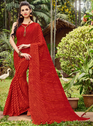 Red Color Chiffon Casual Party Sarees : Shruki Collection YF-67070