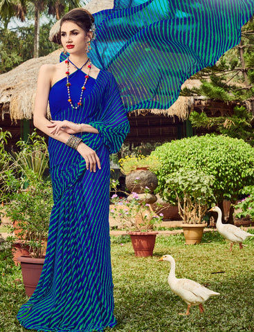 Blue Color Chiffon Casual Party Sarees : Shruki Collection YF-67071