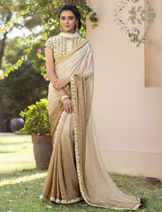 Cream & Light Brown Color Jacquard Crepe Festive & Party Wear Sarees : Priansh Collection  YF-49549
