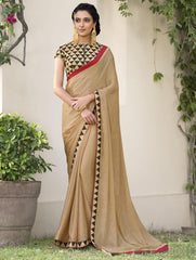 Golden Color Jacquard Crepe Festive & Party Wear Sarees : Priansh Collection  YF-49550