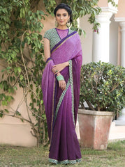 Purple Color Jacquard Crepe Festive & Party Wear Sarees : Priansh Collection  YF-49552