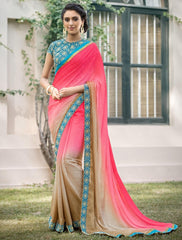 Pink & Light Coffee Color Jacquard Crepe Festive & Party Wear Sarees : Priansh Collection  YF-49553