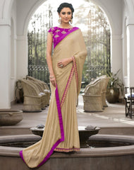 Light Golden Color Jacquard Crepe Festive & Party Wear Sarees : Priansh Collection  YF-49554