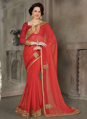Tomato Red Color Wrinkle Chiffon Trendy Designer Sarees : Raivath Collection  YF-50141