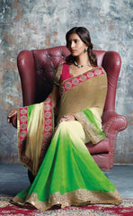 Shades of Cream and Green Color Wrinkle Chiffon Designer Sarees : Prutha Collection  YF-20250