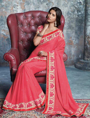 Pink Color Wrinkle Chiffon Designer Sarees : Prutha Collection  YF-20258
