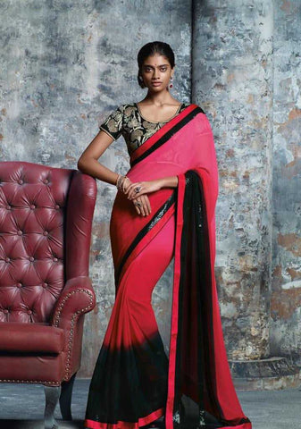 Shades of Pink and Black Color Georgette Designer Sarees : Prutha Collection  YF-20259