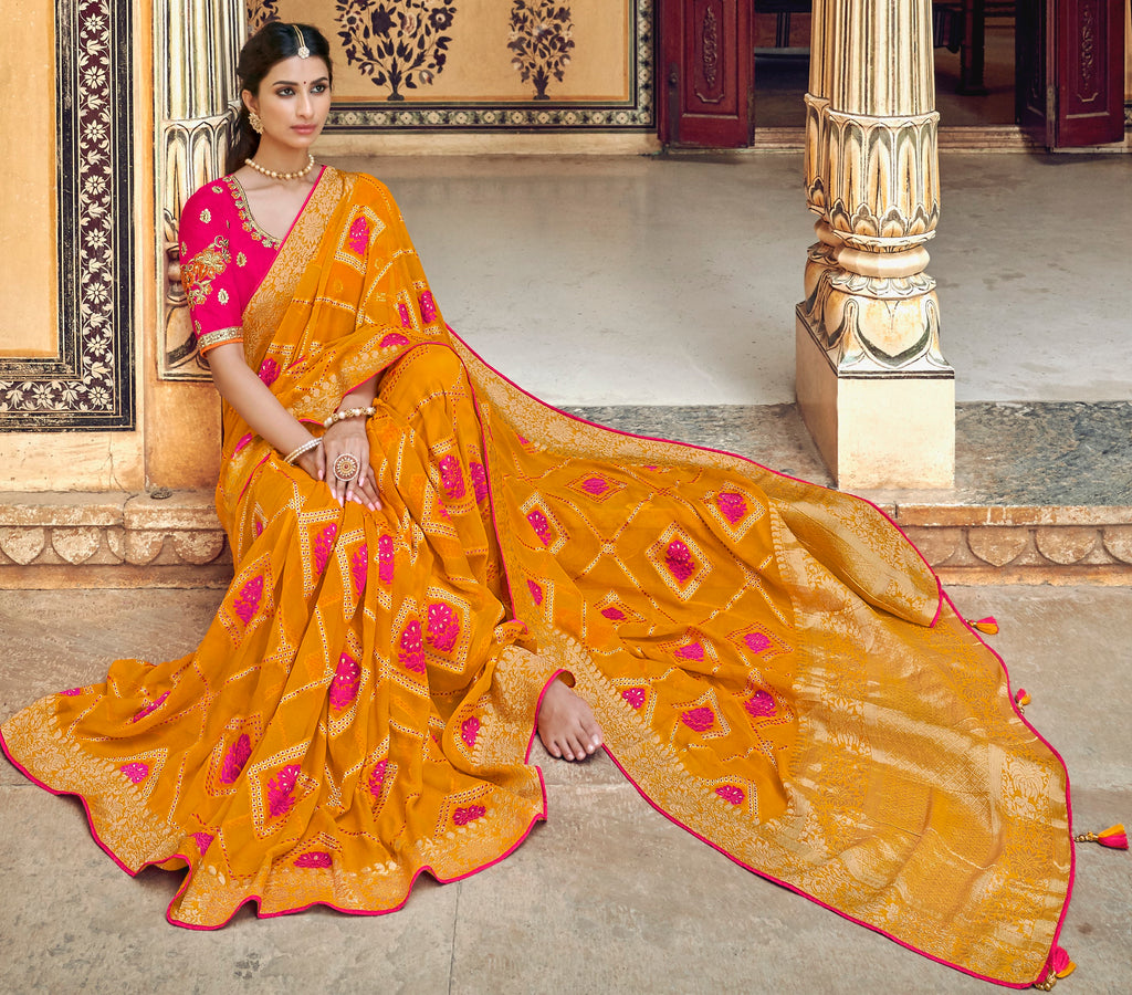 Orange Color Banarasi Silk Designer Wedding Wear Sarees NYF-8007