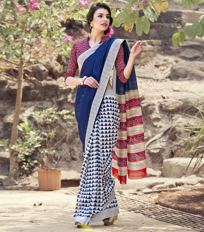 Blue Color Bhagalpuri Casual Party Sarees : Nitima Collection  YF-41753