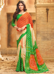 Light Coffee & Green Color Wrinkle Chiffon Bandhej Print Sarees : Rangilo Collection YF-68684