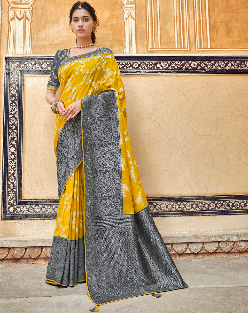 Yellow & Grey Color Banarasi Silk Designer Wedding Wear Sarees NYF-8008